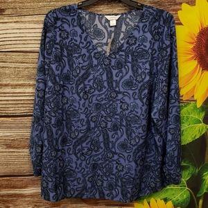 CJ Banks blue Paisley long sleeve blouse 2X NWT